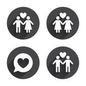 Couple, love icons set. — Stock Vector
