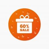 60 percent sale gift box — Stock Vector