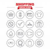 Shopping, sale icons set. — Stock Vector