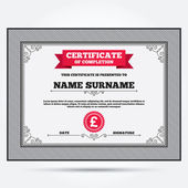 Certificate with Money, pound icon — Stockvector