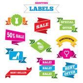 Women dress, shoe icons, labels — Vector de stock