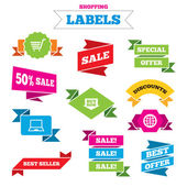 Online shopping icons, labels — Stock Vector