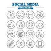 社会媒体图标集. — 图库矢量图片