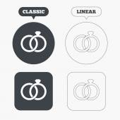Wedding rings, engagement icons — Stock Vector