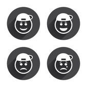 Rapper smile face icons — Stock Vector
