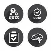 Quiz, question, game icons. — Stock Vector