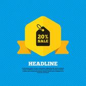20 percent, sale, price icon — Stock Vector
