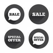 Sale, speech bubble, shopping icons. — Wektor stockowy