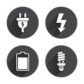 Electric plug, electricity icons — Stock Vector