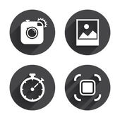 Photo camera, Autofocus icons — Stock Vector