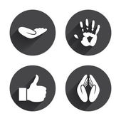Hand, gesture, finger icons set. — Stock Vector