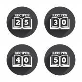 Cookbook, recipes, cooking icons — Stock Vector