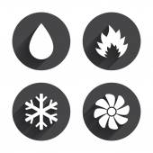 Heating, ventilating and air conditioning icons — Stock Vector