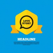 Love story speech bubble icon. — Vetor de Stock