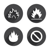 Fire, Prohibition, stop icons — Stock Vector