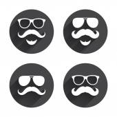 Mustache and Glasses icons. Hipster symbols. — Stock Vector