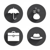 Umbrella, wallet and hat with case icons — Vector de stock