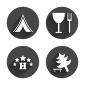Food, hotel, camping tent icons — Stock Vector