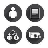 Bank loans, money, finance icons — Stock Vector