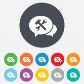 Speech bubble repair tool icons — Stock Vector