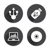 Usb flash drive icons. — Stock Vector