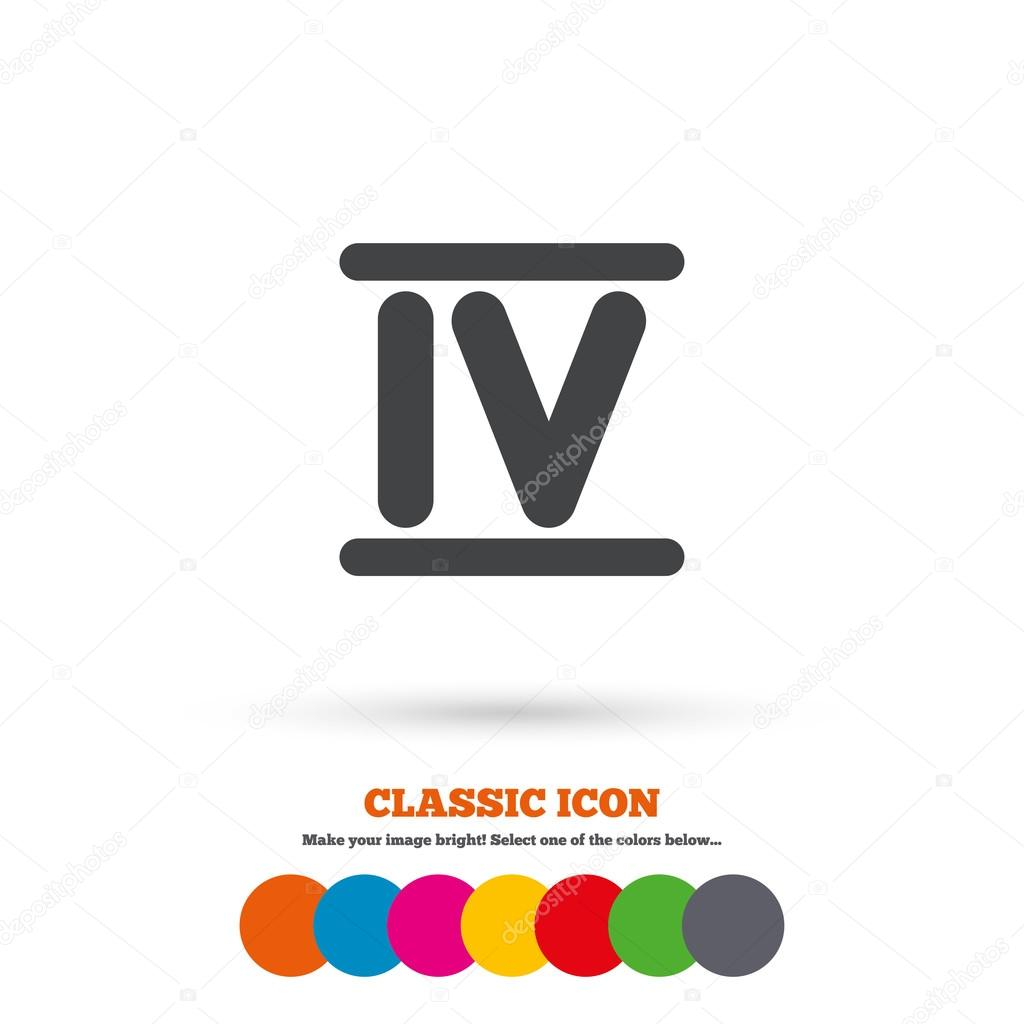 Worksheet Roman Numerals Four roman numeral four icon stock vector blankstock 81773606 sign number symbol classic flat colored circles by blan