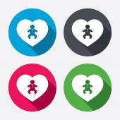 Love Baby infant icons — Stock Vector