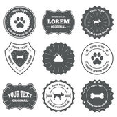 Pets icons. Dog paw and feces — Stock Vector