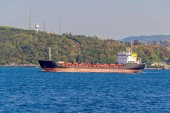 Ship sails Bosphorus — Stock Photo