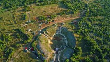 Burnum Roman amphitheater, aerial — Stock Video