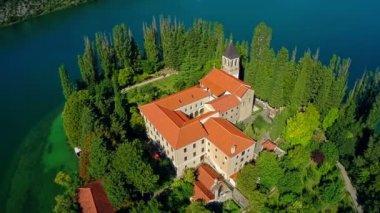 Monastery Visovac, aerial shot — Stock Video