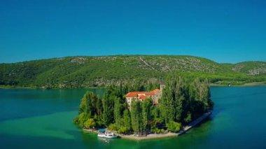 Island Visovac, aerial circular shot — Stockvideo