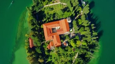 Monastery Visovac, aerial ascent shot — Stock Video