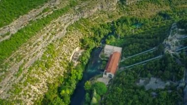 Miljacka Hydroelectric Power Plant aerial — Stock Video