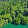 Roski Slap waterfall on river Krka, aerial shot — Wideo stockowe #61741511