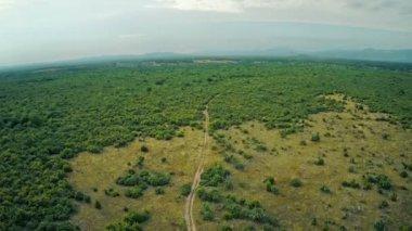 Road Dalmatian hinterland, aerial descenting shot — Stock Video