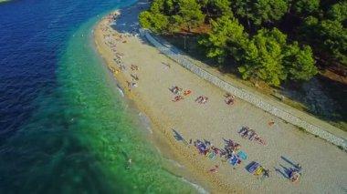 Primosten beaches aerial shot — Stock Video