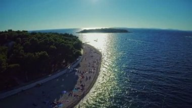 Primosten beaches aerial shot — Stock Video
