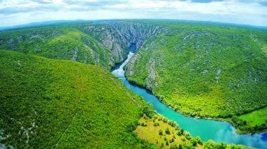 Krka river flow - aerial — Stock Video