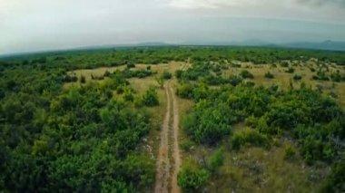 Road Dalmatian hinterland, aerial ascent shot — Stock Video