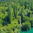 Roski Slap waterfall on river Krka, aerial shot — Stock Video #62556367