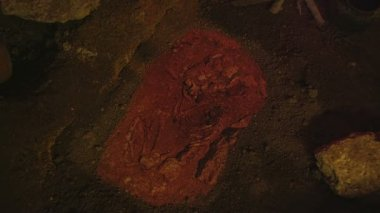 Human skeleton in cave museum — Stock Video