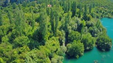 Roski Slap waterfall on river Krka, aerial shot — Stock Video