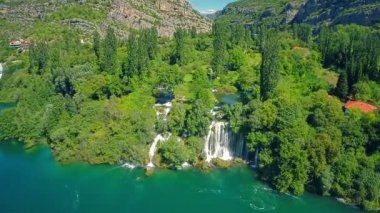 Roski Slap waterfall, aerial shot — Stock Video