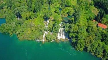 Flying over Roski Slap waterfall — Stock Video