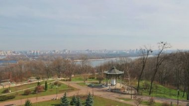 Left Bank panorama of Dnieper, Kiev — Stock Video