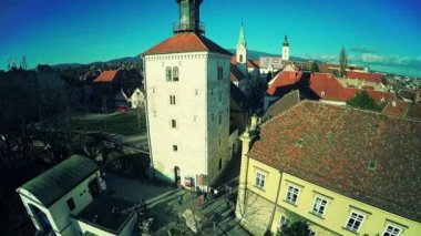 Upper Town Zagreb - aerial — Video Stock