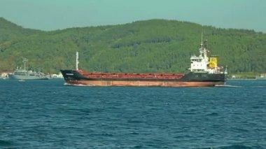 Ship sails Bosphorus — Stock Video