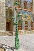 Golestan Palace  with green lamp — Stock Photo