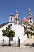 Multicolored greek churches in Meskla. Crete — Stock Photo